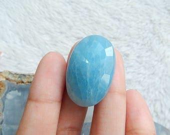 HOT Precious Blue Aquamarine Faceted Gemstone Cabochon Cheap Stone Bead 31x21x12mm 10.7g