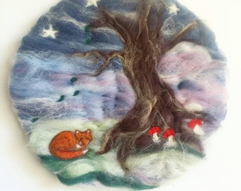 The Night Fox - Whimsical Felted Wall Hanging. Fox tree Toadstools forest stars woodland storm