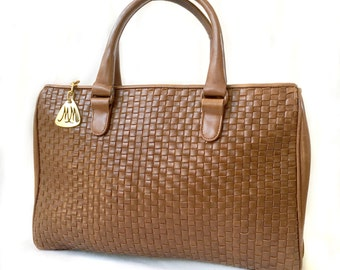 Woven Leather Purse Brown Handbag Vintage Purse Woven Bag
