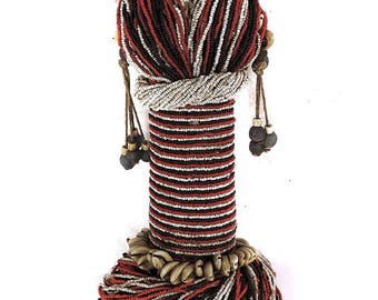 Fali Beaded Fertility Doll with Cowrie Shells Cameroon African Art 109873