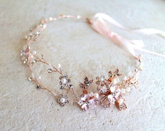Rose gold Leaf Vine Bridal Headpiece. Boho Delicate Crystal Pearl wedding Wreath. Halo Headband. Rhinestone Floral Hairpiece. TEREZ