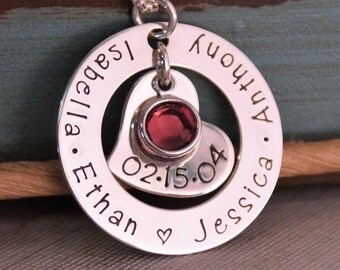 Personalized Jewelry / Hand Stamped Washer / Sterling Silver Mommy Necklace / In My Heart