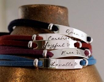 Affirmation Adjustable Bracelet / Personalized Hand Stamped Bracelet / Custom Bracelet / One word or one date