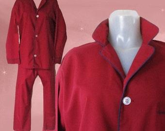 Mens Vintage Pajamas - Burgundy Pajamas - Vintage MacGregor - PJs for Men - Mens Pajama Set - Mens Vintage Pjs - Vintage Pajama Gift for Him