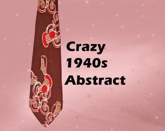 Men's 1940s Vintage Abstract Tie - 40s Necktie - Vintage Rayon Twill Neck Tie - Mens Loud Retro Tie - Crazy Abstract Tie - Men's 40s Retro