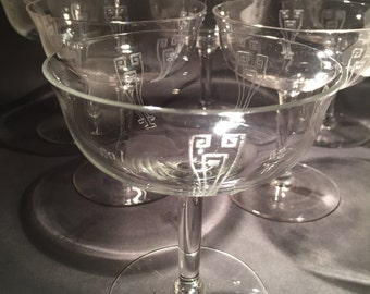 7 Art Deco Etched Champagne Coupes