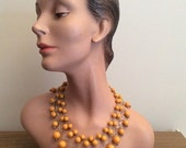 SALE 1960s Orange Bead Bib Necklace 60s