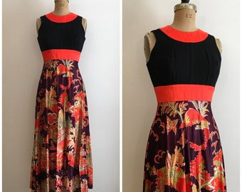 Vintage 1960s 1970s Asian Print Red And Black Dress 60s 70s Mod  Novelty Print Maxi Dress