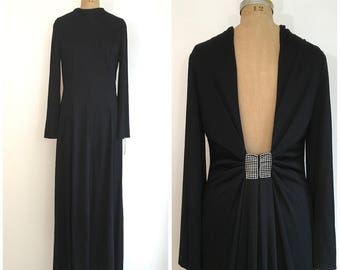 1960s 1970s Etevez Eva Gabor Evening Gown 60s 70s Black Rhinestone Backless Maxi Dress