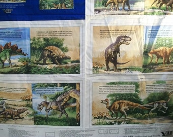 Craft Supply, Fabric Book To Sew, VIPCranston Screen Print Panel, World of Dinosaurs Fabric Book Panel, Childrens Book  To Sew, Crafts