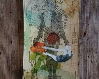 Anatomy Mixed Media Art with Vintage Ephemera Collaged in Reverse on Back Glass Tray