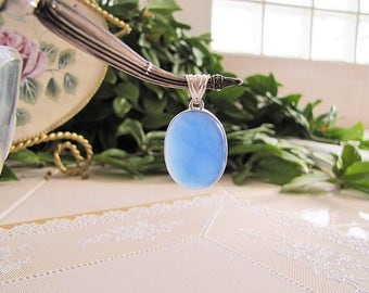 Large Oval Blue Chalcedony sterling silver pendant