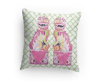 Foo Dog Pillow Asian Chinese Bamboo Trellis  Chinoiserie Pink Blue Palm Beach