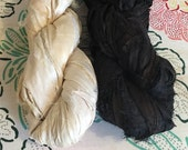 2 for 20 Black and White Special, Recycled Sari Silk Ribbon Yarn, 3.5 oz, 50 yards each, Upcycled, Bulky, Crochet, Knit, Jewelry, Weave