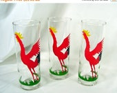 Spring Special Sale 3 Vintage Federal Glasses Red Rooster Ice Tea Drinking Lot Gin Tonic Tall Glass