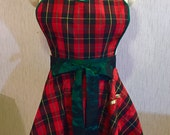 Hostess Apron - Christmas Plaid Taffeta