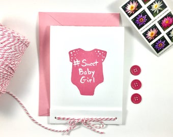 Hand Painted Onesie Baby Card - Pink - Hashtag Sweet Baby Girl