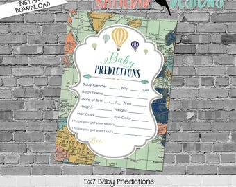 baby shower games printable baby predictions stats 1466 world map hot air balloons digital gender sprinkle rustic chic navy gold mint green