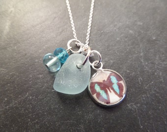 Blue Butterfly Necklace with Aqua Blue Scottish Sea Glass, Gift from Scotland, Resin Pendant