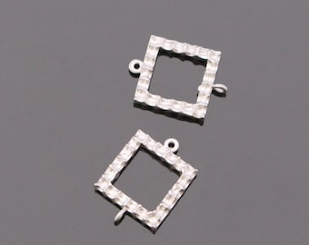 Matte Silver Tarnish resistant square ring drop  pendants, connectors, findings, 2 pc, S612634