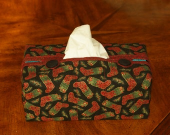 Hand Made Fitted Tissue Box Cover in Christmas fabric fits 160 count Kleenex brand boxes