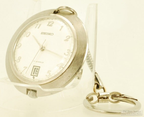 Seiko vintage fob watch with date, 17 Jewels, heavy round Seiko stainless steel case with a recessed crown
