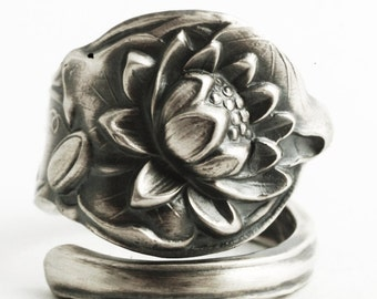 Lovely Lotus Ring, Sterling Silver Spoon Ring, Lotus Blossom, Pond Lilly, Unique Water Lily Flower Ring for Her, Adjustable Ring Size (332)