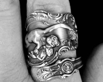 Goddess of Wine Gift for Her, Bacchante Ring, Unique Sterling Silver Spoon Ring, Art Nouveau Ring, Grape Ring, Adjustable Ring Size (G3))