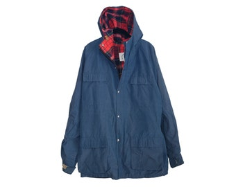 Vintage Bristlecone Mountaineering Dark Blue & Red Plaid Hooded 60/40 Winter Parka, Made in USA - XL