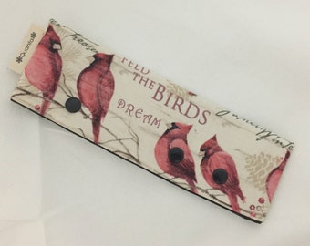 "WINTER Cardinal Double Point Needle Case--Fits up to 7"" DPN knitting--Magic Loop Knitting Holder--Needle Cozy"