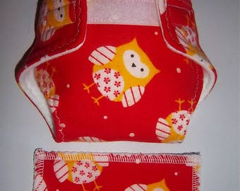 Baby Doll Diaper/wipe - baby owls on red - adjustable for many dolls such as bitty baby