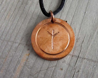 Protection rune pendant TIWAZ and ALGIZ copper medallion viking runes elder futhark rune necklace occult witchcraft jewelry pagan