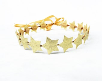 Gold Star Headband, Gold Star Crown, Gold Crown, Star Crown, Star Headband, Star Headpiece, Silver and Gold, Gold Headband, Birthday Crown