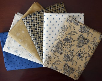 Lexington Fat Quarter Bundle of 6 in Blues Tans and Creams by Minick & Simpson for Moda LAST ONE