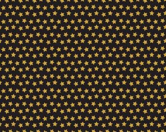 Spooktacular Twilight Black Gold Stars 101.107.12.3 by Maude Asbury for Blend Fabrics