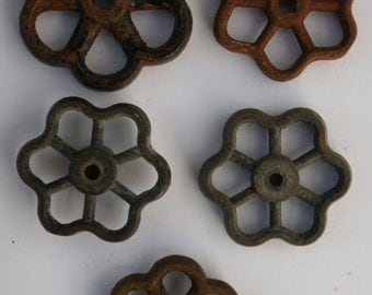 Vintage Valve Handles-Shipping Special-Rustic Flower Power - Industrial Bouquet- Set of 5 Unique Steel Vintage Valve  Handles/Faucet Handles