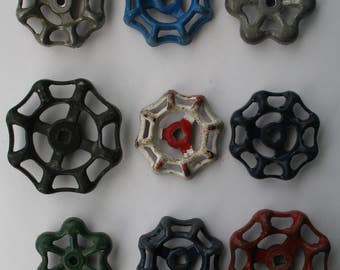 Vintage Valve-Faucet Handles 9 pcs. OVERSTOCK Batch-Faucet Knobs-Funky Crafts Handles-Altered Art-Found Art-Recycled, upcycled,