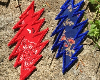 Truckin' 13 point lightning bolt handmade Grateful Dead patch, iron on, red/blue, Jerry Garcia, hippie festival, Stealie, upcycled, recycled