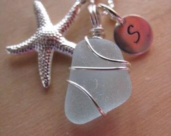 Wedding Jewelry Sea Glass Jewelry for Bridesmaids Blue Beach Jewelry Sea Glass Necklace