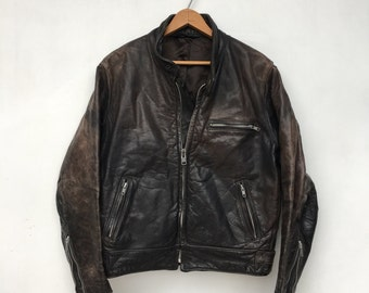 Vintage Leather Distressed Motorcycle Biker Racer Jacket M