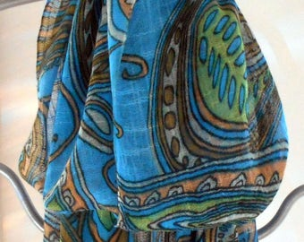 Fashion Scarf,Turquoise Scarf,LongGreen Scarf,Paisley Scarf,Womens Scarves, Mothers Day,BOHO,Ethnic,Accessory, Sarong,Scarf, Gift For Her