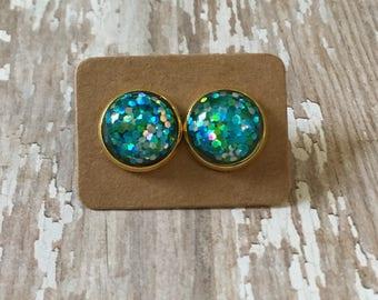 Nickel free!!!  Gorgeous aqua glitter studs