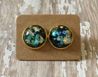 Nickel free!!! Gorgeous iridescent black studs