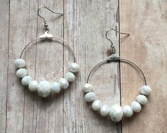 Gorgeous white beaded dangle earrings