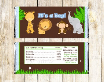 Its a Boy Candy Bar Wrapper Jungle Candy Bar Label Jungle Baby Shower Baby Boy Shower Jungle Baby Sprinkle Chocolate Labels INSTANT DOWNLOAD
