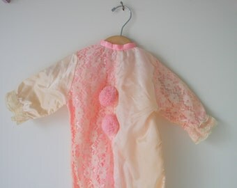 Vintage PINK LACE Clown Jumper..size 6 9 months.children. costume. circus. retro. romper. 1960s. kitsch. jumper. satin. lace. carnival. baby