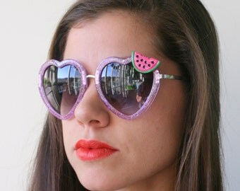 The WATERMELON Glitter Heart Sunglasses....handmade. retro. colorful shades. hipster. kitsch. shades. summer. fruit. red heart. twiggy. mod