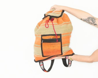 Vintage Peruvian Blanket Backpack , Ethnic Wool Backpack