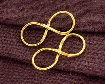 2 of 925 Sterling Silver 24K Gold Vermeil Style Infinity Links 30x12mm.   :vm0924