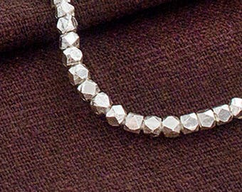 40 of Karen Hill Tribe Silver Facet Beads 3 mm. :ka4280